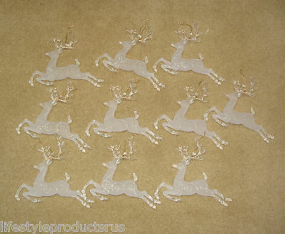 10 New Glittered Frosted Acrylic Leaping Reindeer Ornament Deer Christmas 8 1/2""