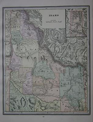 1891 Idaho Antique Color Atlas Map**  ...126 years-old!!