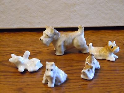Vintage Miniature Ceramic Japan Terrier Dog With 4 Puppies