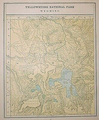 1891 Yellowstone National Park, Wyoming Original Color Map** 126 Years Old!!