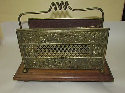 Antique Victorian Oak and Brass Letter Holder Aesthetic
