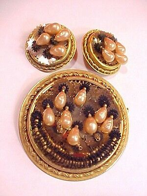 Old Vintage Antique French Brooch And Earring Set With Faux Pink Baroque Pearls