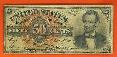 1869-75 50¢ 'SOLID' HISTORICAL LINCOLN United States Fractional!