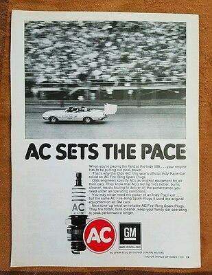 1970 Olds Vintage Ad Cutlass 442 Indy 500 Convertible Pace Car AC spark plugs