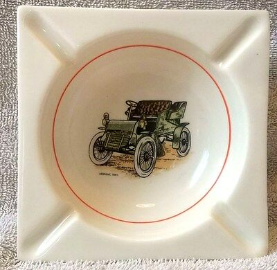 Vintage AC SPARK PLUGS Hyalyn 129 Pottery Ashtray with 1903 Cadillac