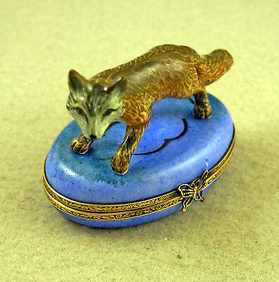 NEW HAND Painted French Limoges Trinket Box Cute Fox On Blue Box ...