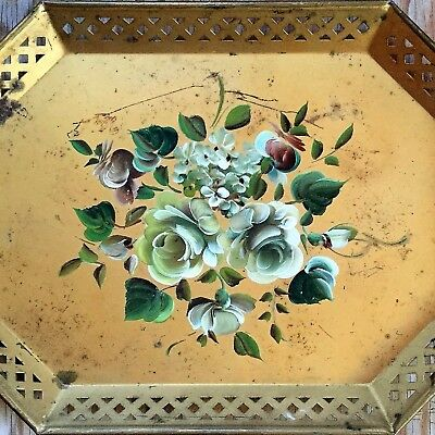 """Large Toleware TOLE TRAY Gold with Hand Painted Flowers Green FLORAL 20"""" x 15"""""""