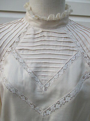 Vintage Women's Carry Back Lace Silk Victorian Prairie Style Blouse Shirt Top 14