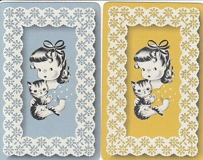 *Vintage Swap / Playing Card - 2 SINGLE - GIRL WITH KITTEN