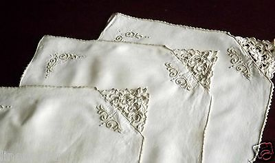 3 Vintage Table Runners Place Mats Taupe Embroidered Linen Set Lot