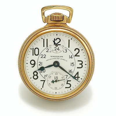 23 Jewel Waltham Vanguard Railroad Pocket Watch 24 Hour Dial Up/down Indicator