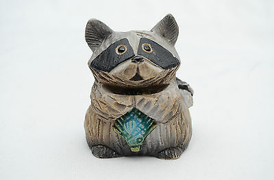 "Artesania Rinconada Hand Crafted Clay 3"" Mini Raccoon Figure #164 Holding Fish"