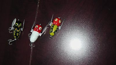 Lot of 3 Heddon Vintage Tiny Crazy Crawlers Fishing Lures