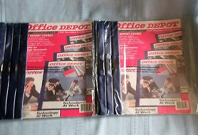 Lot of 10 Office Depot Clip Report Covers Clear Front Navy Back and Binding