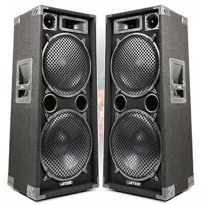 PAIR MAX 2x12 3 way PA BAND KARAOKE 2800w Peak Bass Floor Loud Speakers UK Stock