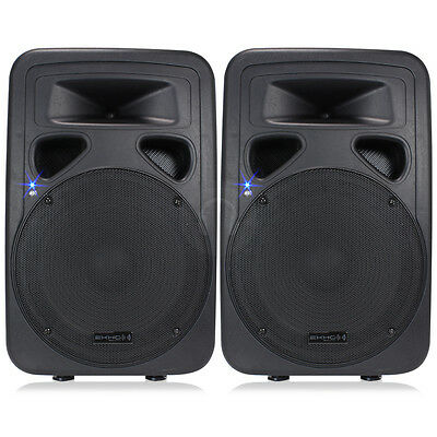 "Pair 15"" Active PA Wedge Monitors Speakers Party DJ Sound System 1600W UK Stock"
