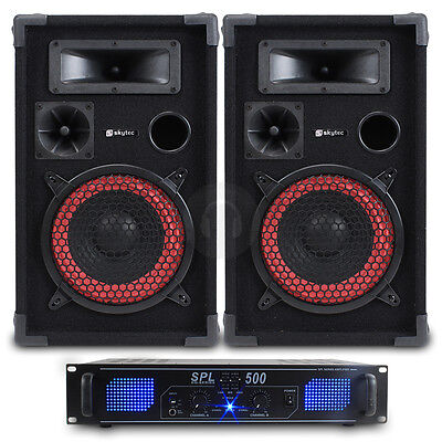 """2x Skytec 8"""" DJ PA Party Speakers + Amplifier + Cables Home System 500W UK Stock"""