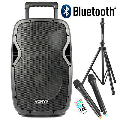 Vonyx Portable Battery Powered Bluetooth System 600W Stand Wireless Mic UK Stock
