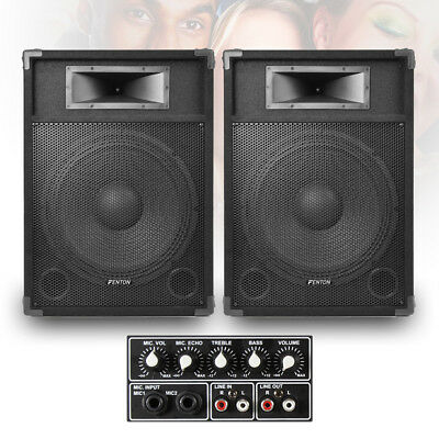 "SkyTec CSB15 PA Speakers Active 15"" Home Karaoke Party 1600W Total Peak UK Stock"