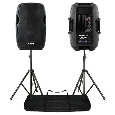 "2x Vonyx AP1200A Active 12"" Inch DJ PA Speakers Stands - 1200W Max Kit UK Stock"