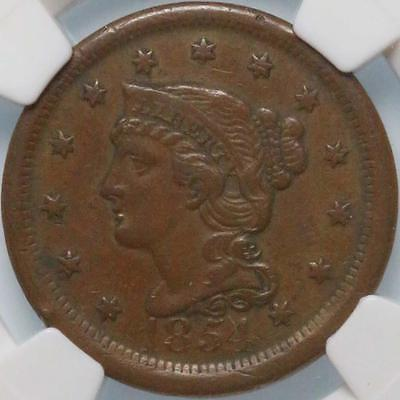 """1854 """"braided Hair"""" Large Cent, Ngc Xf45, Super Sharp Detail, Rich Brown Color!"""