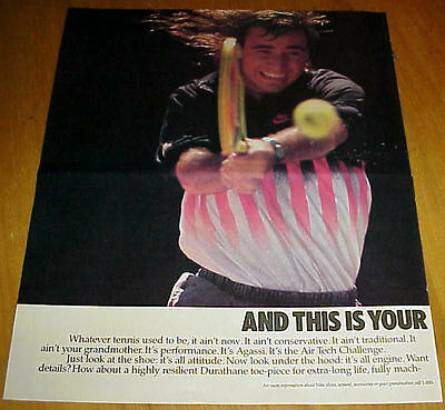 1990 Nike Air Tech Challenge Tennis Shoes Large 3 Page Ad Andre Agassi #022517