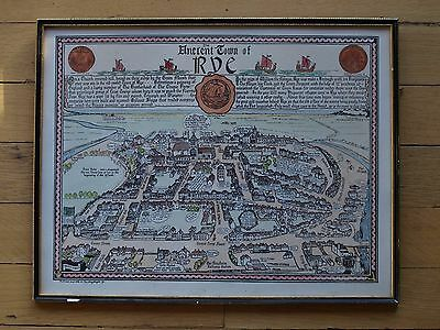 Vintage Map hand tinted map of Rye Sussex 50 x 39cm pub sold by the Merrythought