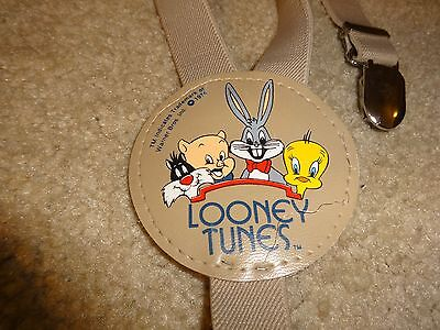 Vintage 1974 Children's Looney Tunes Beige Suspenders