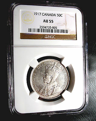 Old Canadian Coins Rare Choice 1917 Ngc Canada Fifty Cents Au55  Luster 50 C