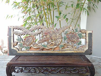 717. Antique CarvedGood Gilt Wood Panel with Bird and Flower