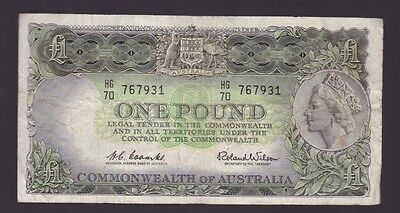 One Pound Paper Banknote Commonwealth of Australia Coombs Wilson K-697