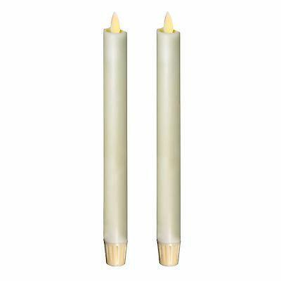 """Luminara Real-Flame Effect Set of Two Taper Candlesticks Ivory Candle Timer 8"""""""