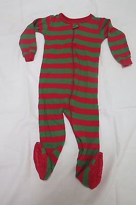 Toddler one piece footsie cotton pajama green/red striped size 3