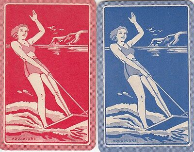 %Vintage Swap/Playing Card - 2 SINGLE PEOPLE - LADIES AQUAPLANE