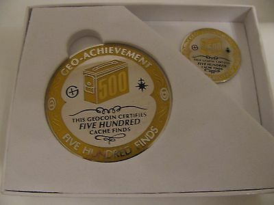 500 Geo-finds Milestone Geocoin and pin set.  Trackable.  Unactivated.