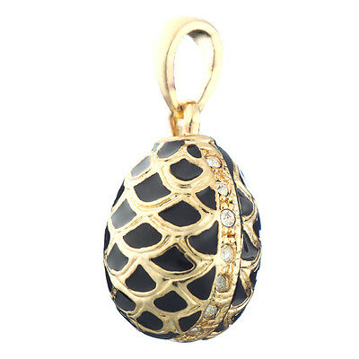 Faberge Egg Pendant / Charm Pinecone with crystals 2.3 cm black #1901-01