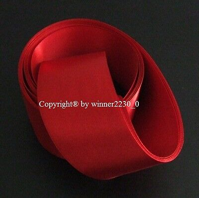 """Premium Quality 50mm 2"""" Wide RED Double Satin Ribbon Wedding Car Woven Edge 5m"""