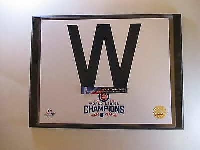 """Cubs Win """"w"""" 2016 World Series Champions Photo Mounted On A """"9 X 12"""" Black Marbl"""