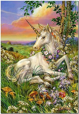 Beautiful Unicorn foal in flowers Canvas Print Poster 12X16""