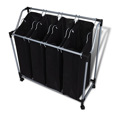 S# New Laundry Sorter Clothes Basket Washing Hamper 4 Bag Organiser Trolley Blac