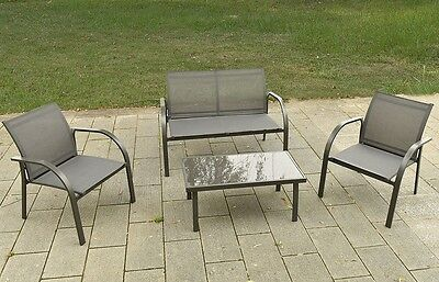4PC Garden Patio Furniture Set Table with Lawn Sofa and 2 Chairs Steel Frame