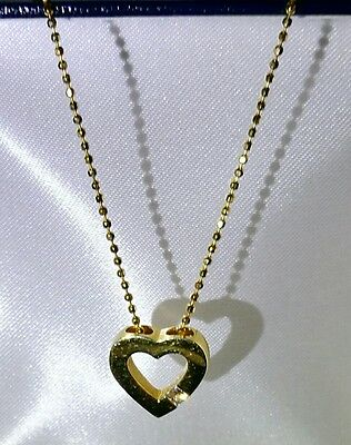 Beautiful 18ct Yellow Gold 16 inch Diamond Heart Solitaire Necklace