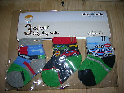 3 Pairs Socks for Boy 0-6months Oliver&Olivia boutique
