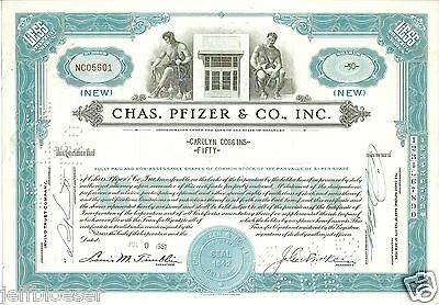 STOCK-Charles Pfizer & Co Incorporated Certificate for 50 Shares-Dated Jul 1951