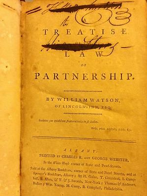 18th Century A Treatise of the Law of Partnership Legal Reference by Watson 1795