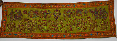 Indian Handmade Cotton Wall Hanging Ethnic Embroidered Home Decor Tapestry