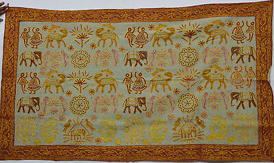Vintage Elephant Embroidery Cotton Wall Hanging Indian Home Decor Tapestry Throw