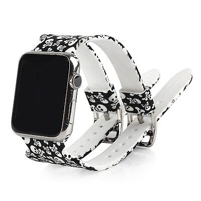 SKULLS DOUBLE BUCKLE Wristband Strap Bracelet Band For iWatch 38MM APPLE WATCH