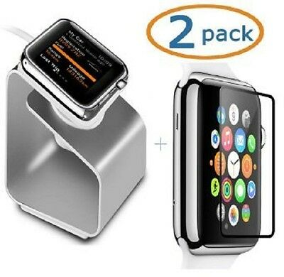 TEMPERED GLASS 2PK Screen Protector Film For iWatch 42MM APPLE WATCH + STAND