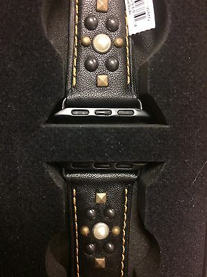 NWT Coach Apple Watch Band Strap In Black Leather With Studs 38mm In Gift Box